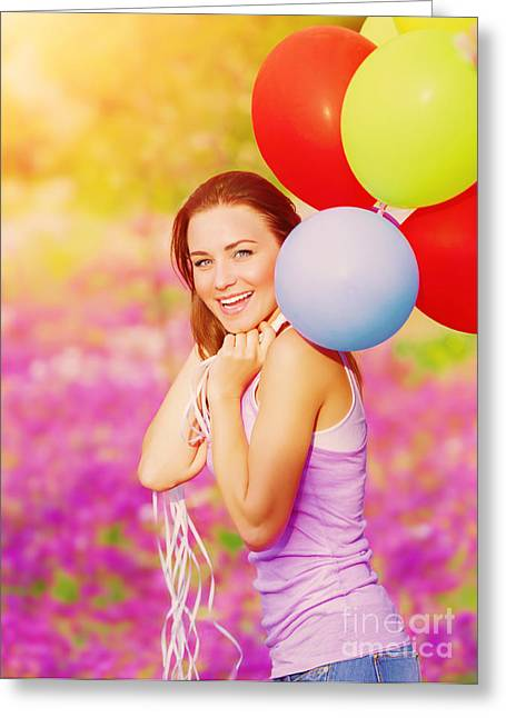 Cute Female With Balloons Greeting Card by Anna Omelchenko