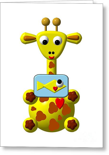 First Love Greeting Cards - Cute Giraffe with Goldfish Greeting Card by Rose Santuci-Sofranko