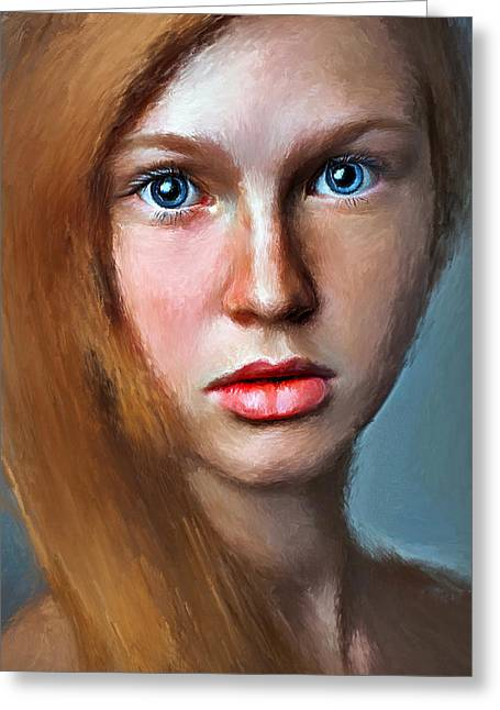 Cute Digital Greeting Cards - Cute Girl Portrait Greeting Card by Yury Malkov