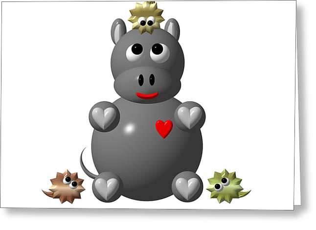 Hippopotamus Digital Art Greeting Cards - Cute Hippo with Hamsters Greeting Card by Rose Santuci-Sofranko