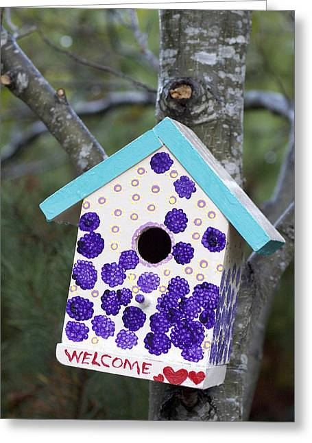 Nesting Greeting Cards - Cute Little Birdhouse Greeting Card by Carol Leigh