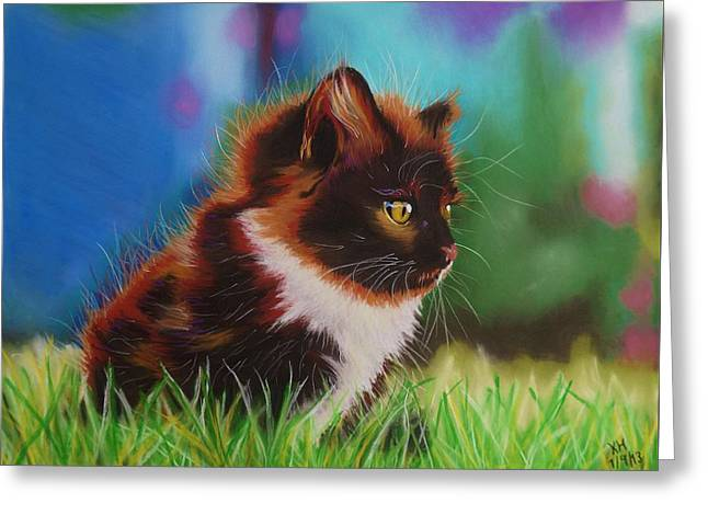 Cute Kitten Pastels Greeting Cards - Cute Little Kitten Greeting Card by Kevin Hubbard