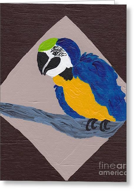 Macaw Art Print Greeting Cards - Cute Little Macaw  Greeting Card by Melissa Vijay Bharwani