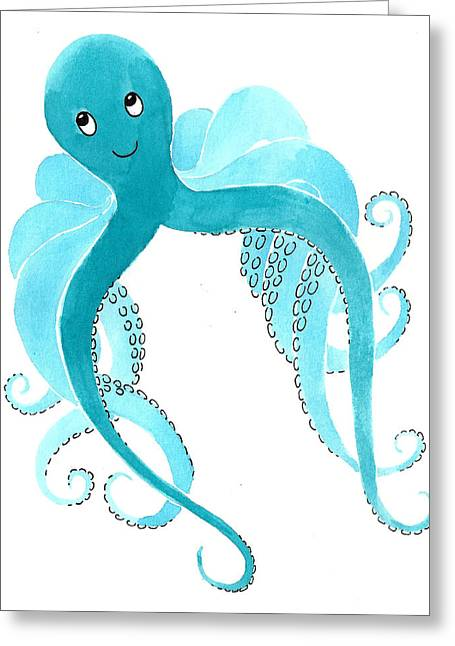 Octopus Greeting Cards - Cute Octopus Painting Greeting Card by Christy Beckwith
