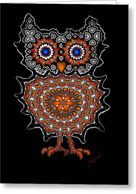 Cute Owl With Big Blue Eyes 1 Greeting Card by Marcela Bennett