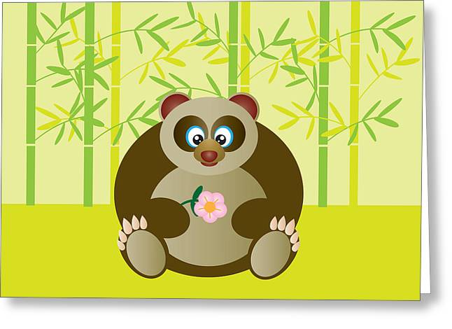 Wildlife Celebration Greeting Cards - Cute Panda Holding Flower Illustration Greeting Card by JPLDesigns