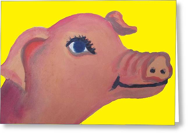 Cute Pig On Yellow Greeting Card by Cherie Sexsmith