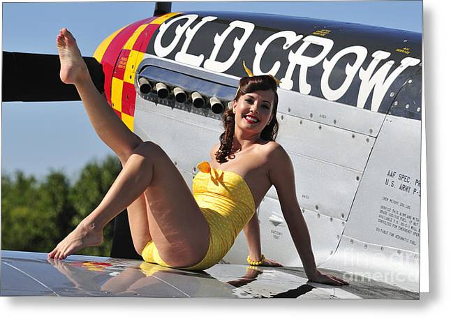 Cool Attitude Greeting Cards - Cute Pin-up Girl Sitting On The Wing Greeting Card by Christian Kieffer