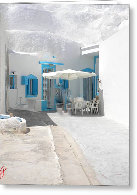 Colette Greeting Cards - Cute Santorini Island Hause  Greeting Card by Colette V Hera  Guggenheim