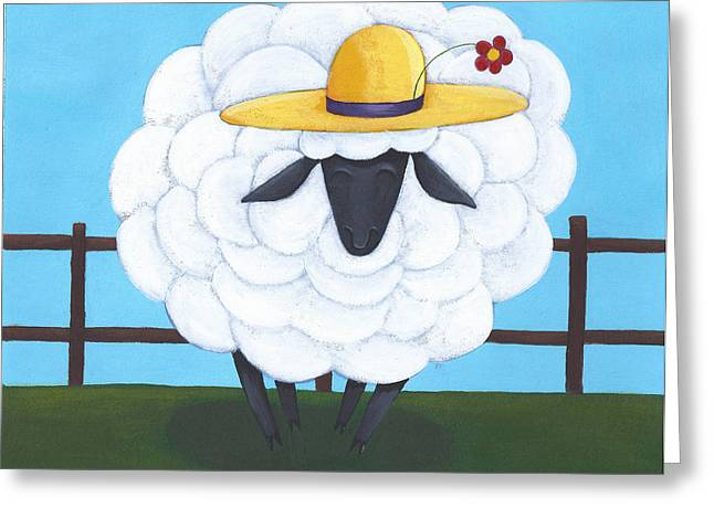 Kids Room Drawings Greeting Cards - Cute Sheep Nursery Art Greeting Card by Christy Beckwith