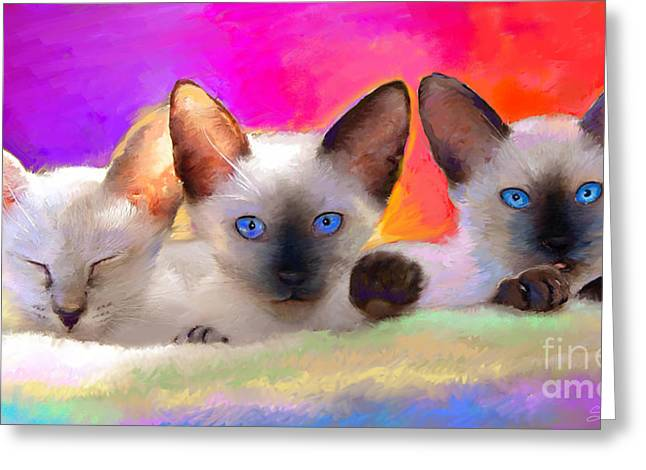 Cat Drawings Greeting Cards - Cute Siamese Kittens cats  Greeting Card by Svetlana Novikova