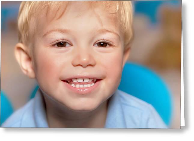 Nice Teeth Greeting Cards - Cute smiling boy Greeting Card by Anna Omelchenko