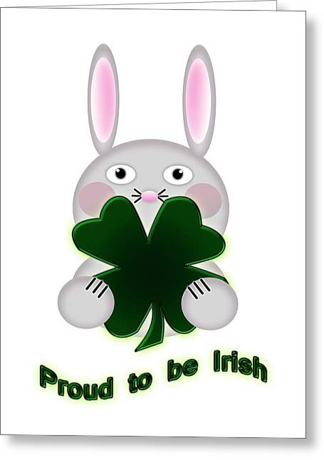 Cute Digital Greeting Cards - Cute St. Patricks Day Bunny Proud to be Irish Greeting Card by Shelley Neff