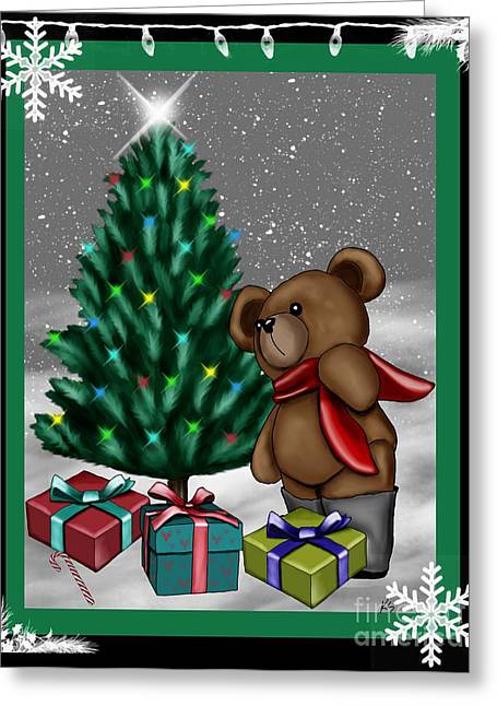 Cute Mixed Media Greeting Cards - Cute Teddy Bear 6 Greeting Card by Karen Sheltrown