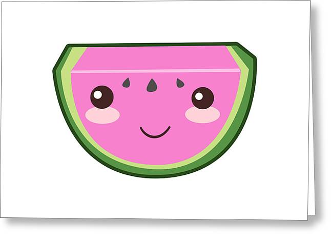 Cute Watermelon Illustration Greeting Card by Pati Photography