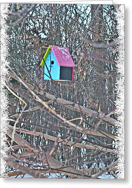 Cutest Little Birdhouse Greeting Card by Donna Brown