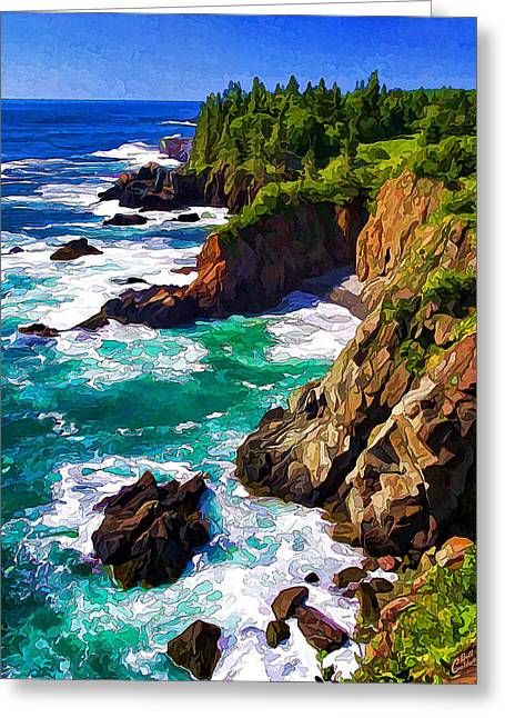 Ocean Art Photography Greeting Cards - Cutler Coast White Water - Painterly Greeting Card by Bill Caldwell -        ABeautifulSky Photography
