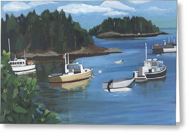 Yellow Sailboats Greeting Cards - Cutler Harbor  Maine Greeting Card by Jane Croteau