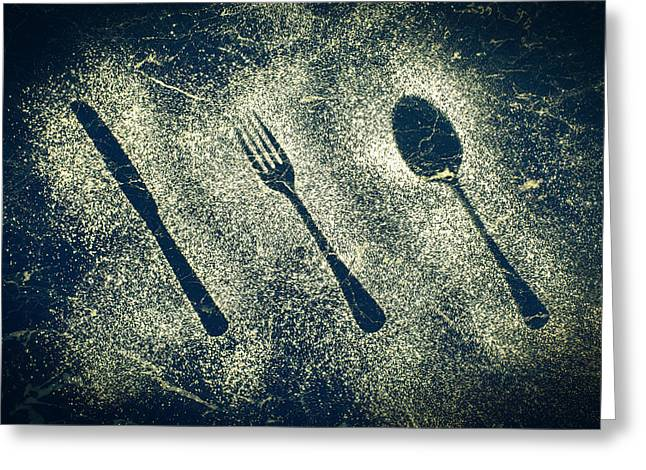 Icing Sugar Greeting Cards - Cutlery Greeting Card by Amanda And Christopher Elwell
