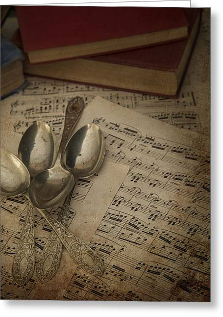 Cutlery In Vintage Table Setting With Antique Paraphenalia With  Greeting Card by Matthew Gibson