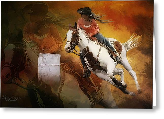 Cowgirl Prints Greeting Cards - Cuttin It Close Greeting Card by Robert Albrecht