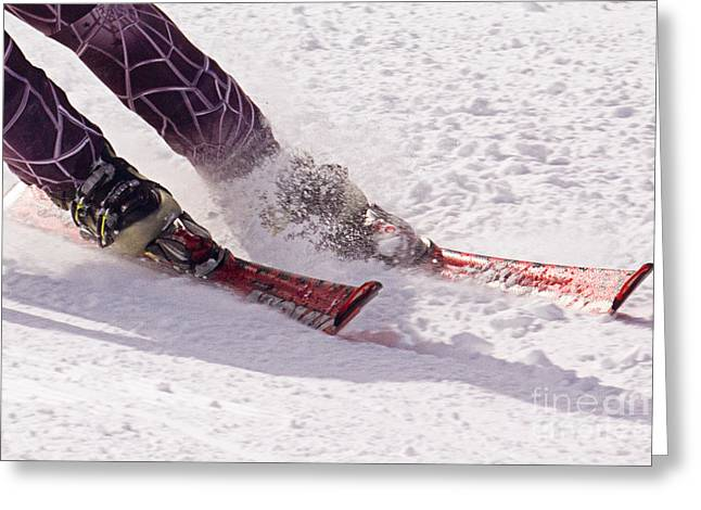 Super-g Skiing Greeting Cards - Cutting Edge Greeting Card by Bob Hislop