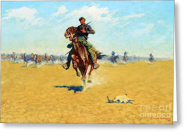 U.s Army Greeting Cards - Cutting out pony herds Greeting Card by Pg Reproductions