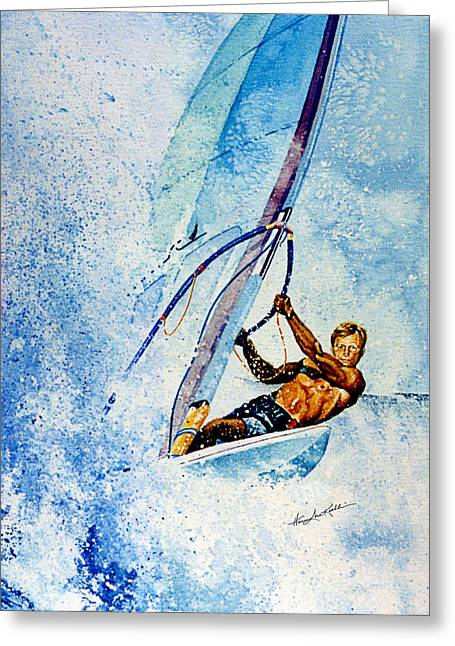 Surfing Art Greeting Cards - Cutting The Surf Greeting Card by Hanne Lore Koehler