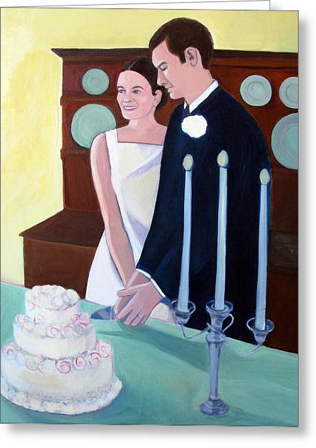 Special Occasion Greeting Cards - Cutting the Wedding Cake Greeting Card by Toni Silber-Delerive