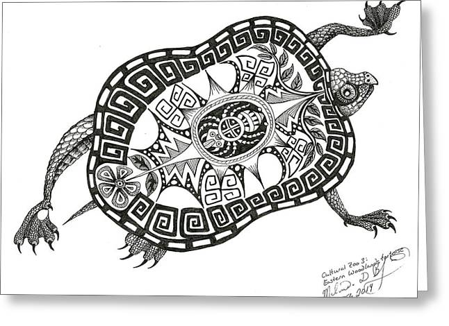 Cutural Zoo 3 Eastern Woodlands Tortoise Greeting Card by Melinda Dare Benfield