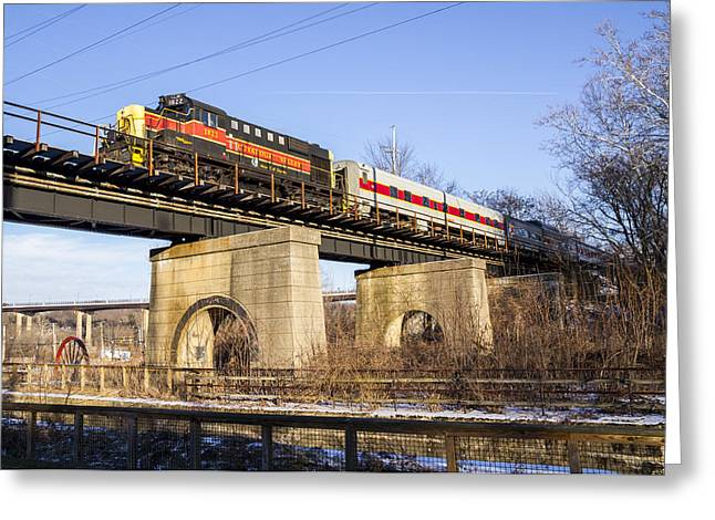 Passenger Train On Bridge. Greeting Cards - Cuyahoga Valley Scenic RR  Greeting Card by Tim  Fitzwater
