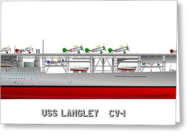 Warship Drawings Greeting Cards - CV-1 USS Langely in the 1920s Greeting Card by George Bieda