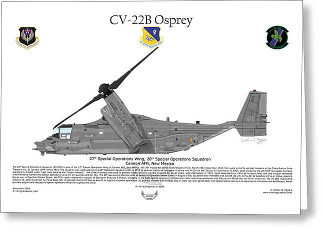 Storm Prints Digital Greeting Cards - CV-22B Osprey 20th SOS Greeting Card by Arthur Eggers