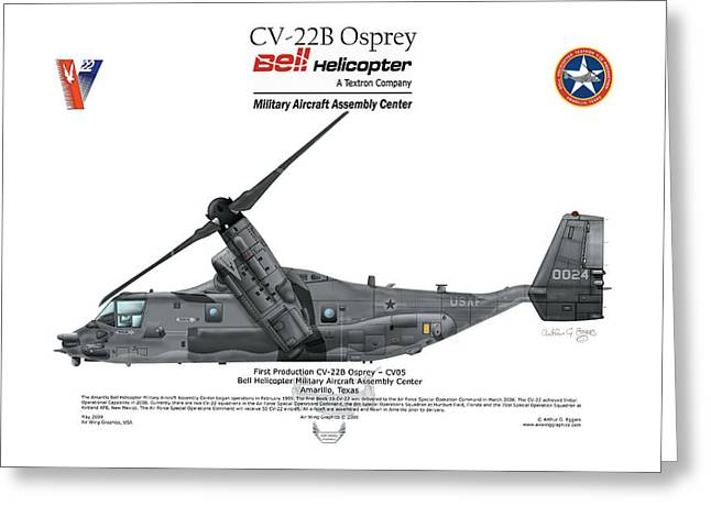 Steve Eggers Greeting Cards - CV-22B Osprey Greeting Card by Arthur Eggers