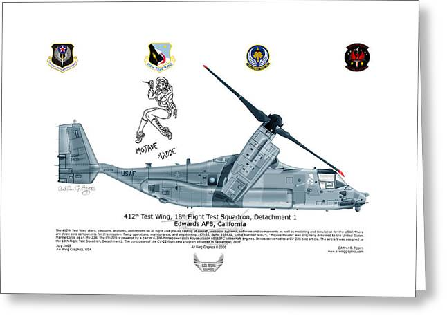 Squadron Graphics Greeting Cards - CV-22B Osprey Mojave Maude Greeting Card by Arthur Eggers