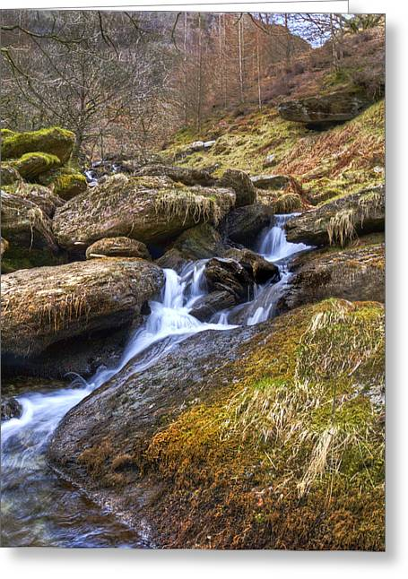Forestry Commission Greeting Cards - Cwm Rhaeadr Waterfall Greeting Card by Hazel Powell