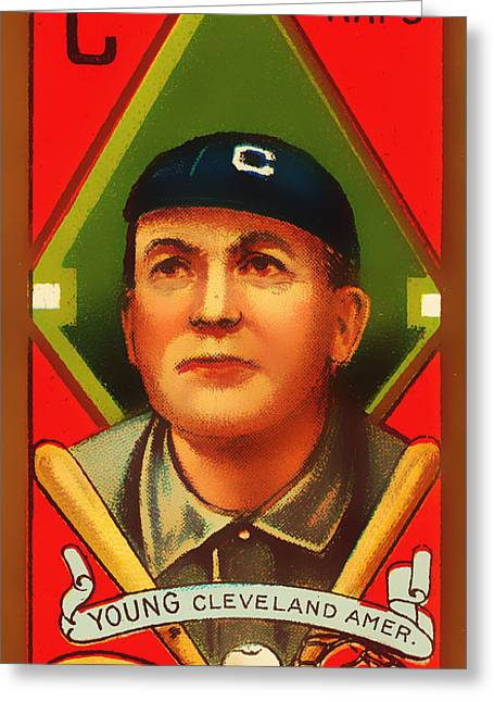 American Pastime Photographs Greeting Cards - Cy Young Cleveland Naps Baseball Card 0838 Greeting Card by Wingsdomain Art and Photography