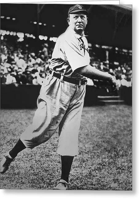 Baseball Game Greeting Cards - Cy Young Warming Up Greeting Card by Retro Images Archive