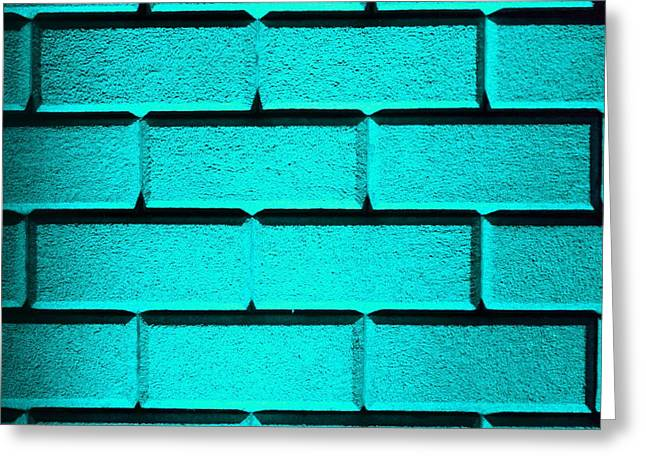 Geometric Effect Photographs Greeting Cards - Cyan Wall Greeting Card by Semmick Photo