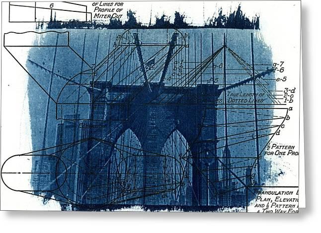 Process Greeting Cards - Cyanotype Brooklyn Bridge III Greeting Card by Jane Linders