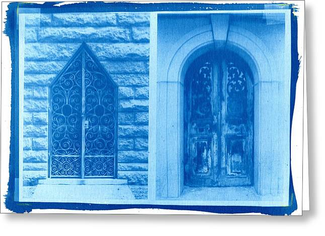 Printmaking Greeting Cards - Cyanotype Crypt Doors Greeting Card by Jane Linders