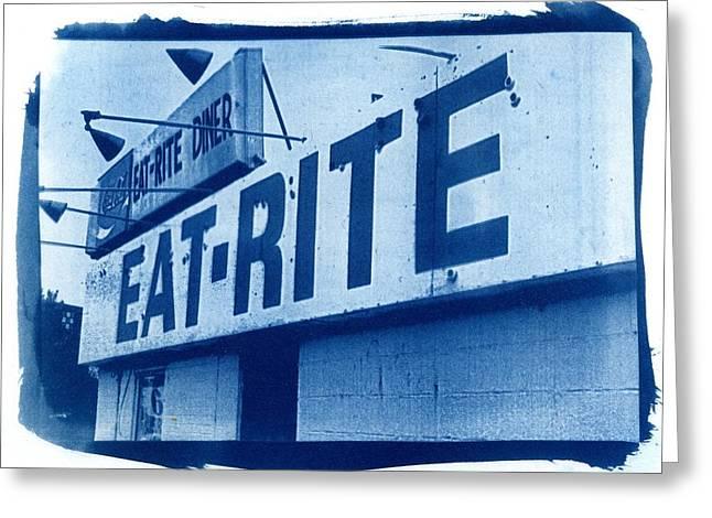 Printmaking Photographs Greeting Cards - Cyanotype Eat Rite Diner Greeting Card by Jane Linders