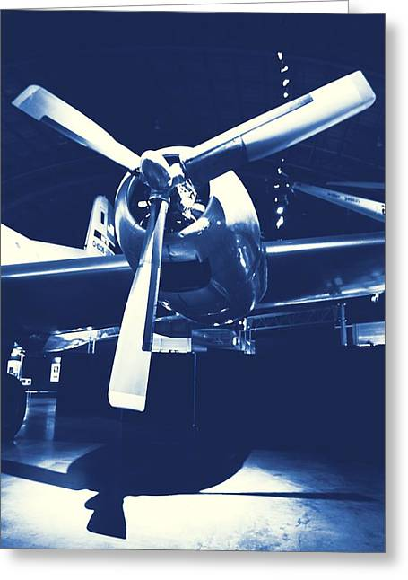 Plane Engine Greeting Cards - Cyanotype Vintage Airplane Greeting Card by Dan Sproul
