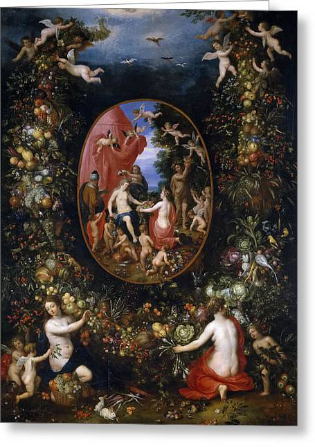 Balen Greeting Cards - Cybele and the Seasons in a Garland of Fruit Greeting Card by Hendrick van Balen and Jan Brueghel the Elder
