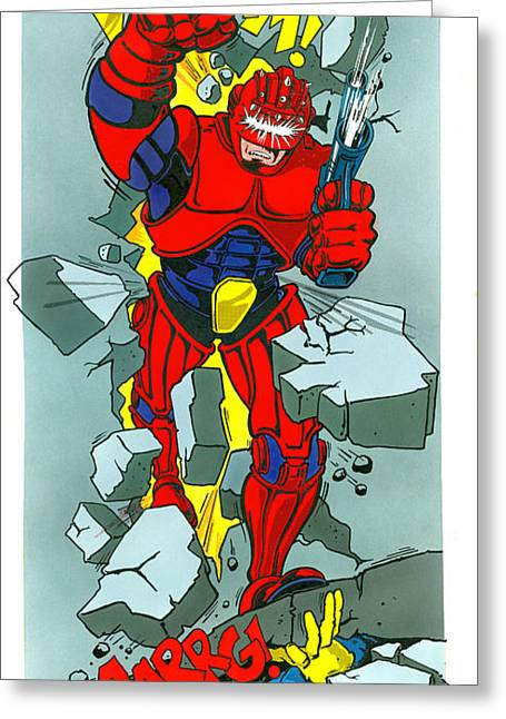 Superheroes Photographs Greeting Cards - Cyber FIghter Greeting Card by MGL Studio