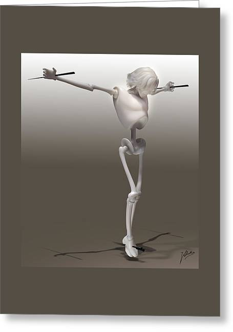 Crucifix Mixed Media Greeting Cards - CyberChrist Greeting Card by Quim Abella