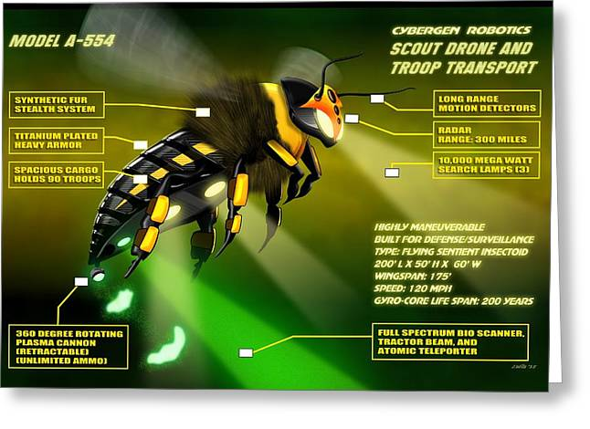 Robotics Greeting Cards - Cybergen Robotics Insectoid Scout Drone Greeting Card by John Wills