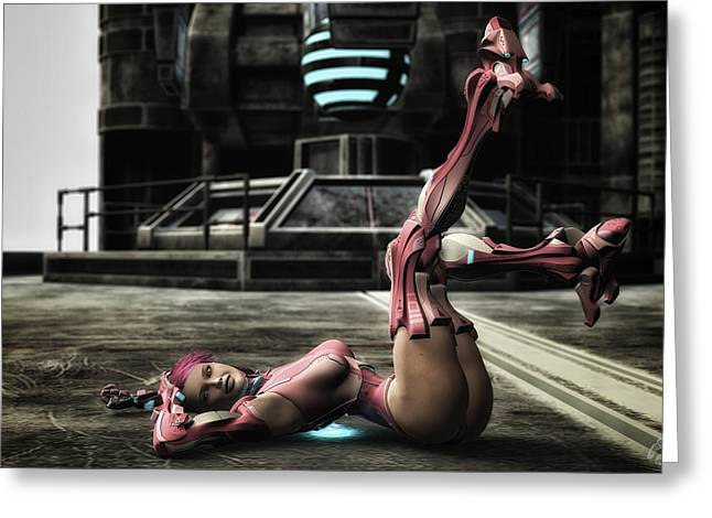 Future Tech Digital Greeting Cards - Cyborg Pin-up Greeting Card by Todd and candice Dailey