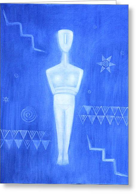 Goddess Birth Art Greeting Cards - Cycladic Goddess - middle panel Greeting Card by Diana Perfect