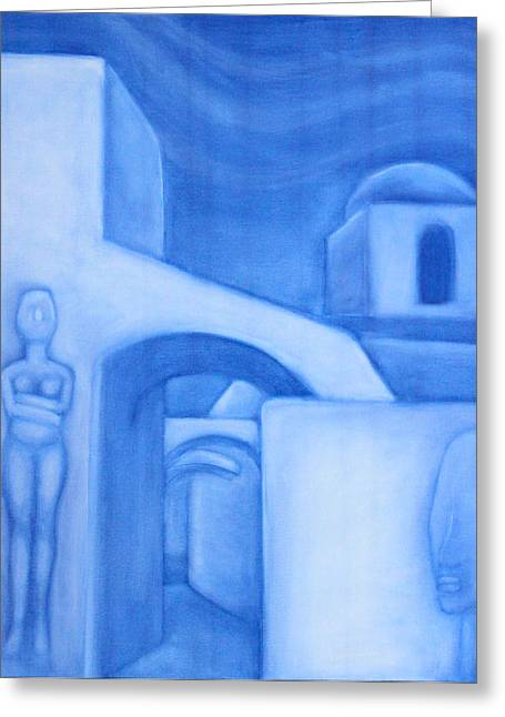 Goddess Birth Art Greeting Cards - Cycladic Island Dreamscape Greeting Card by Diana Perfect